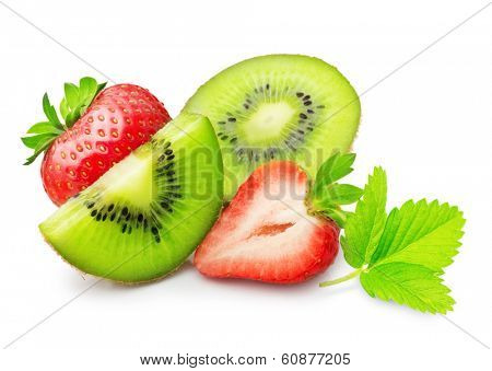 Kiwi fruit slice and strawberry isolated on white