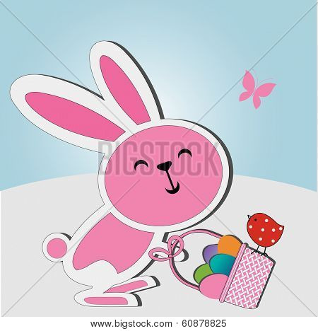 Easter bunny basket of eggs and adorable birdie
