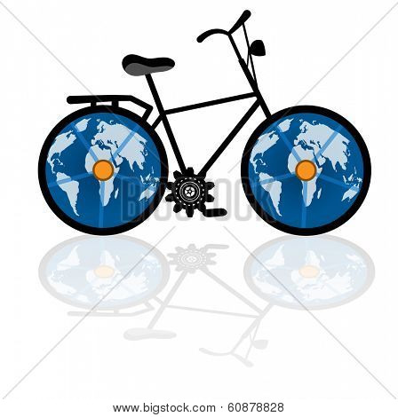 vintage bicycle with globe for wheels - environment  - eco tourism concept