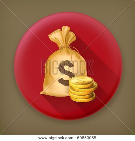Moneybag and coins, long shadow vector icon