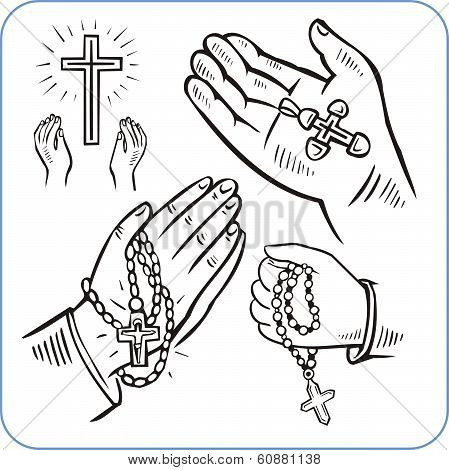 Hands and crosses - vector illustration.