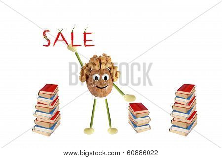 Funny Little Man Of The Walnut Proposes The Sale Of Books