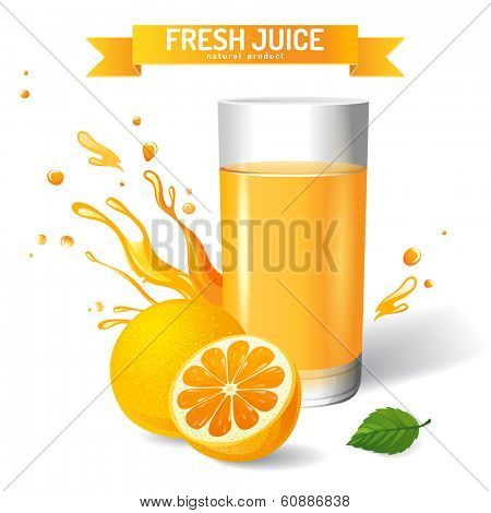 Fresh juice background with orange and mint