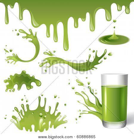 green juice splashes