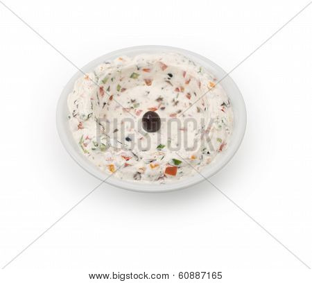 Lebanese food of labneh yogurt isolated on white