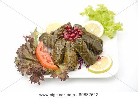 Stuffed vine leaves plate lebanese cuisine