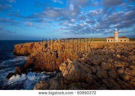 Menorca Punta Nati Faro lighthouse in Ciutadella Balearic Islands of Spain