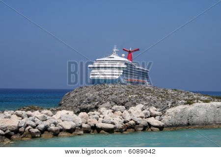 Cruise Ship behind an Island
