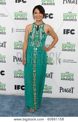 LOS ANGELES - MAR 1:  Ming-Na Wen at the Film Independent Spirit Awards at Tent on the Beach on March 1, 2014 in Santa Monica, CA