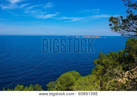 cala Vedella Vadella Ibiza island with Mediterranean sea in Balearic Islands