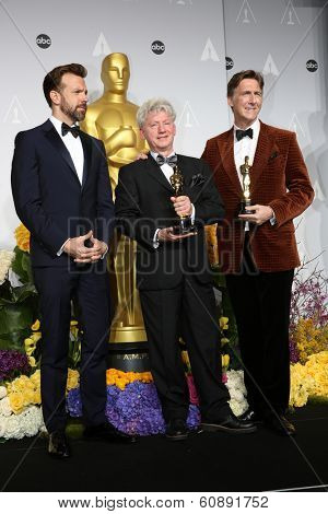 LOS ANGELES - MAR 2:  Jason Sudeikis, Malcolm Clarke and Nicholas Reed  at the 86th Academy Awards at Dolby Theater, Hollywood & Highland on March 2, 2014 in Los Angeles, CA