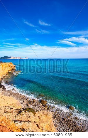 Ibiza Sa Caleta beach in south San Jose at Balearic Islands of spain
