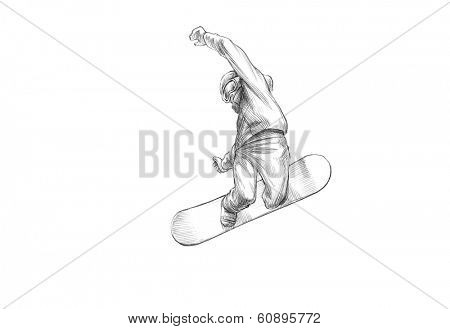 Winter Sports, Pencil Illustration of a Snowboarder Mid Air - High Resolution Scan, Decent Copy Space