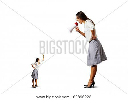 small woman screaming and showing fist to big angry woman over white background