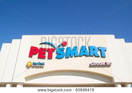 JACKSONVILLE, FL-MARCH 1, 2014: A PetSmart store front in Jacksonville. PetSmart, Inc. is a retail chain engaged in the sale of specialty pet supplies and services.