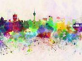 Macau Skyline In Watercolor Background