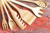 Wooden Kitchen Utensils Arranged In A Fan