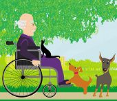 Old Man In A Wheelchair And His Pets