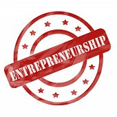 picture of entrepreneurship  - A red ink weathered roughed up circles and stars stamp design with the word ENTREPRENEURSHIP on it making a great concept - JPG