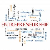 picture of entrepreneurship  - Entrepreneurship Word Cloud Concept with great terms such as economic private venture and more - JPG