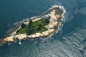 Small Island with lighthouse in the Gulf of Maine, Aerial View
