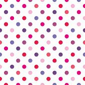 Seamless vector pattern with pastel pink, red, purple and violet polka dots on white background