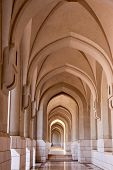 image of mekah  - Arch corridor with depth in an Arabic mosque - JPG