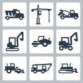 stock photo of dumper  - Vector construction equipment icons set over white - JPG