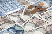 stock photo of japanese coin  - close up Japanese currency notes and japanese yen coin - JPG