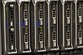 stock photo of chassis  - Blade servers in a blade chassis in a rack - JPG