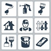 stock photo of spray can  - Vector house painter icons set over white - JPG