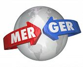 stock photo of combinations  - Merger Word International Business Combination New Company - JPG