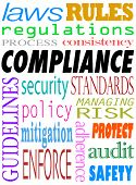 Compliance Word Background Laws Rules Regulations Guidelines