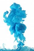 stock photo of pigments  - Blue ink in water - JPG