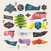stock photo of origami  - Set of Retro ribbons and labels Origami banners