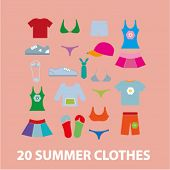 20 summer clothes icons, signs set, vector