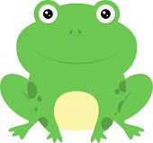 picture of baby frog  - Cute cartoon baby green frog squatting down - JPG