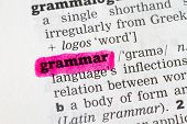 stock photo of grammar  - Grammar Dictionary Definition closeup highlighted in pink - JPG