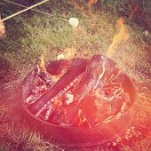 Camp fire in summer with instagram effect