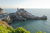 foto of promontory  - The historical church of San Pietro situated on the promontory of Portovenere facing Palmaria Island - JPG