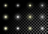 stock photo of glow  - Set of Vector glowing light effect stars bursts with sparkles on transparent background - JPG