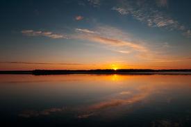 picture of flambeau  - Morning Sunrise over Big Crawlingstone lake in Lac Du Flambeau Wisconsin - JPG