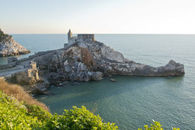 picture of promontory  - The historical church of San Pietro situated on the promontory of Portovenere facing Palmaria Island - JPG