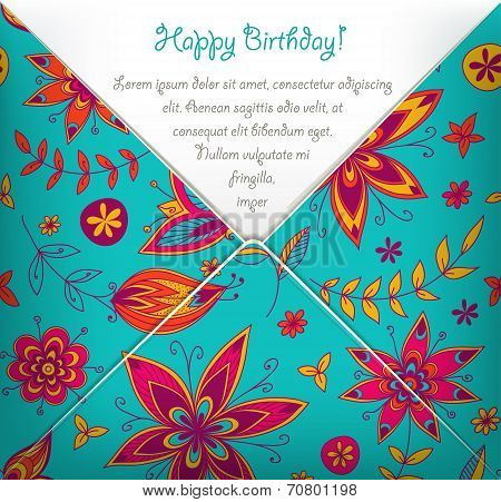 Template of greeting card with floral pattern