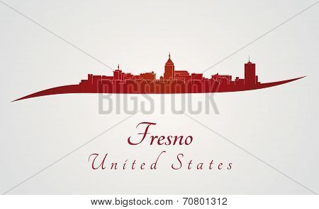 Fresno Skyline In Red