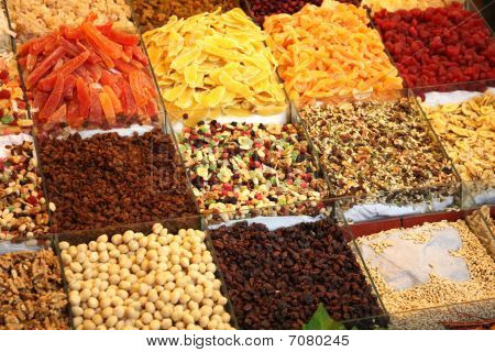 Market Stand With Dried Fruit And Nuts