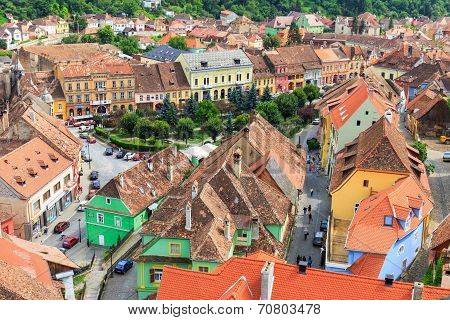 Aerial view of Old Town in Sighisoara
