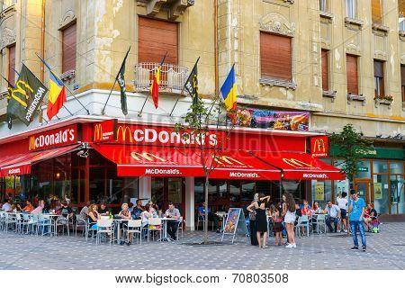 Mcdonalds Restaurant At Piata Victoriei, Timisoara, Romania.