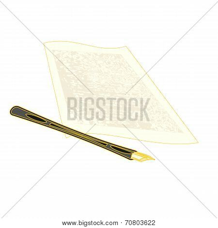 Golden Pen And The Manuscript Vector