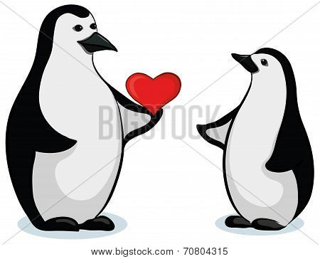 Penguins with Valentine heart